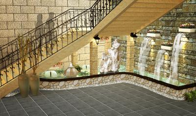 陶瓷城展厅楼梯下景观设计